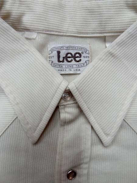 ビンテージLEEリー 70S白色ポリ素材ウエスタンシャツレアUSA製_画像1