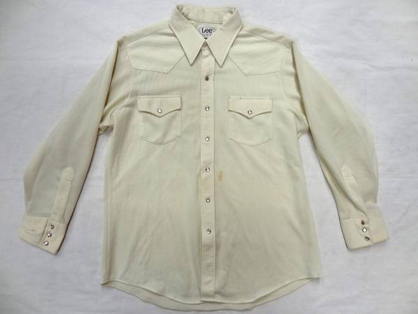 ビンテージLEEリー 70S白色ポリ素材ウエスタンシャツレアUSA製_画像2