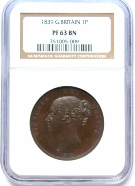 1839 イギリス ヴィクトリア ペニー NGC PF63 銅貨 プルーフ