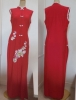 * ロングチャイナドレス / 赤 花の刺繍 / M