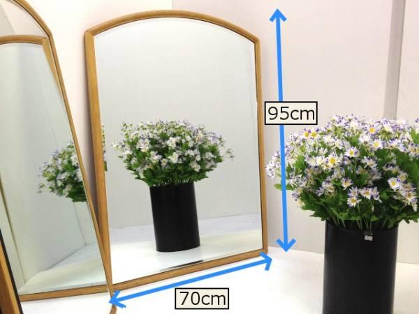 【未使用処分品】高級壁掛け鏡 ウォールミラー ナラ無垢材_ミラーの縁は幅広面取り加工です。