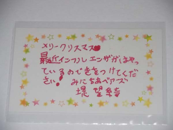 堤望綺 直筆 クリスマスメッセージカード/みにちあベアーズ