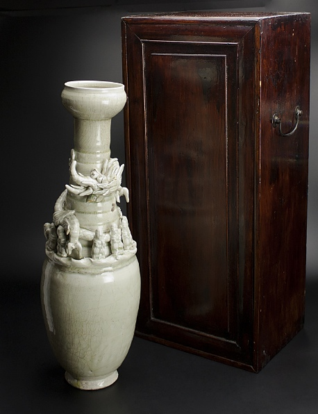 宋 青釉長頸瓶 共箱 中国 古美術_画像1