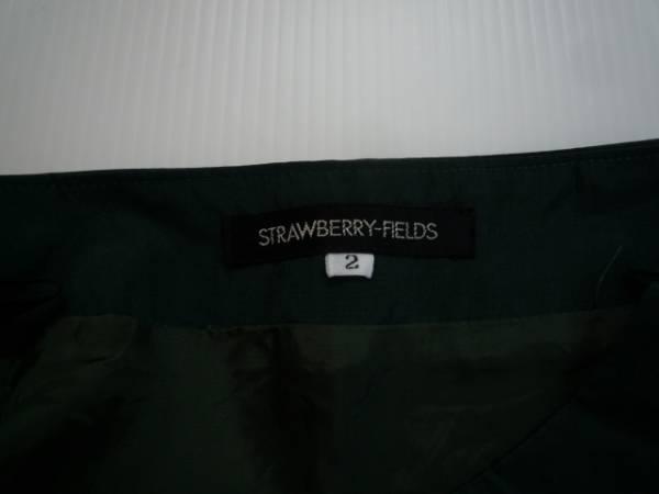 【良品!!】◆STRAWBERRY-FIELDS◆ 台形スカート 膝丈 緑 2 無地_画像3