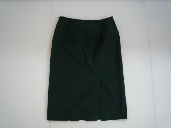 【良品!!】◆STRAWBERRY-FIELDS◆ 台形スカート 膝丈 緑 2 無地_画像2