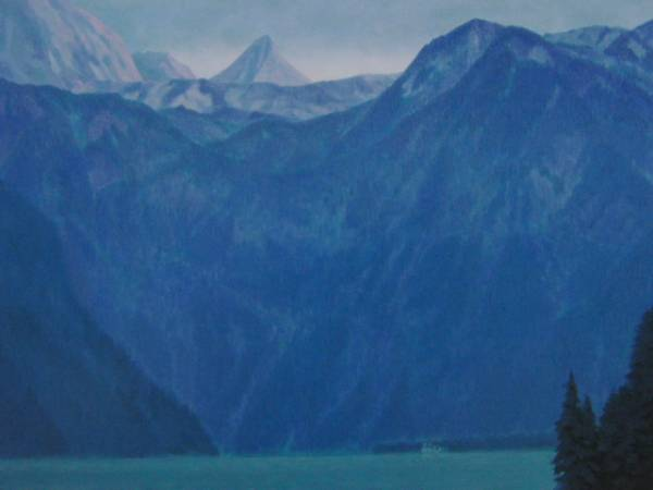 東山 魁夷、明けゆく山湖、希少画集画、新品額付、絵画 送料無料