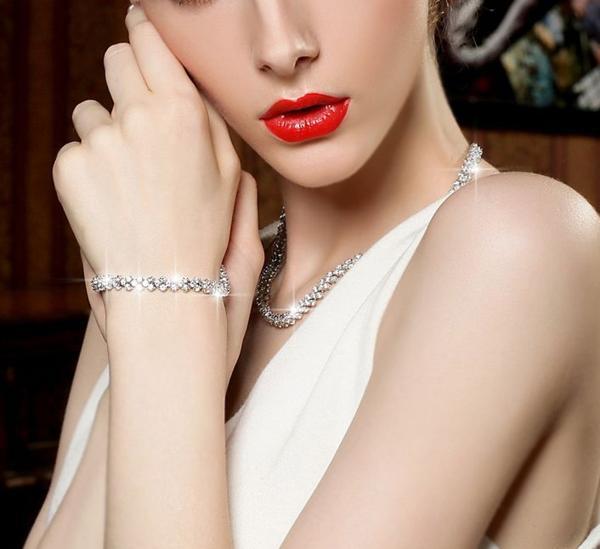 期間限定 豪華 結婚式 パーティー CZダイヤモンド  キュービックジルコニア テニスネックレス _画像3