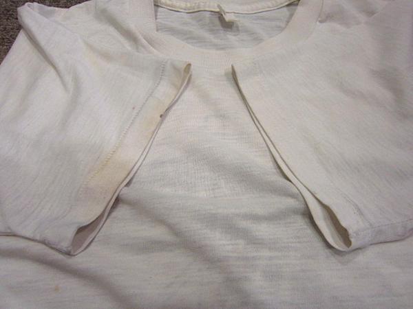 ビンテージ70's★U.S.ARMYバックプリントTシャツ★60's80's古着ミリタリーコットン_袖先にシミ
