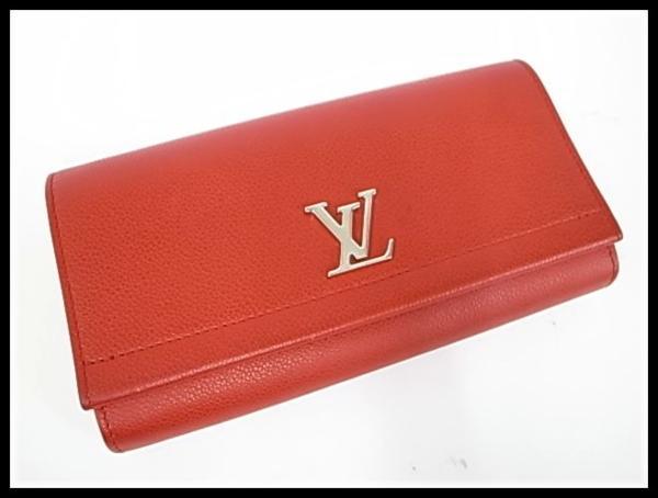7253T【本物保証】 ルイ・ヴィトン ポルトフォイユロックミー2 M62326 二つ折り長財布 レザー 赤 美品_画像1