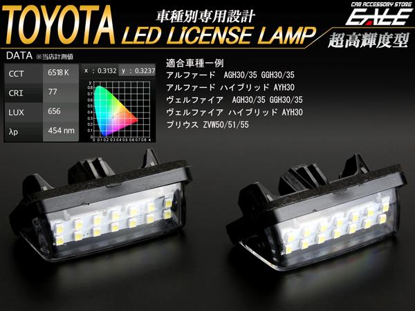 1円 30系 アルファード ヴェルファイア 50系 プリウス LED ライセンスランプ R-138