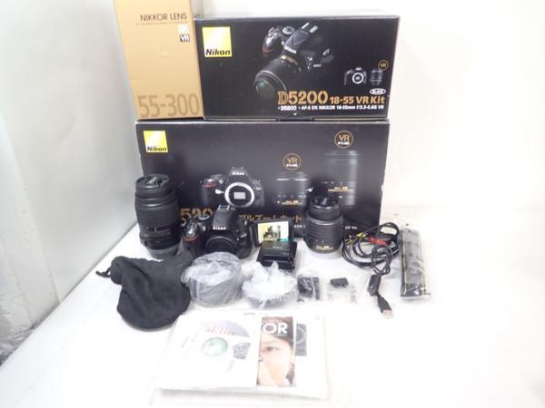 Nikon ニコン D5200 ダブルズームキット デジタル一眼レフカメラ 935ショット 予備電池1個付 ★ 4E1E6-1