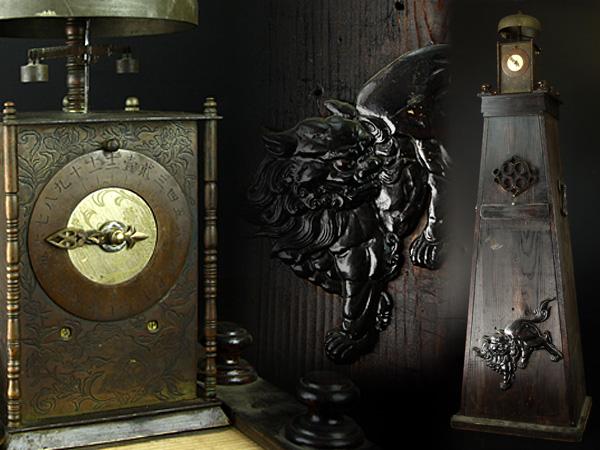【魁】名家所蔵品 本歌江戸期 蔵に眠る大名品 大名時計 和時計 錘 台座 銅板彫刻有 分銅