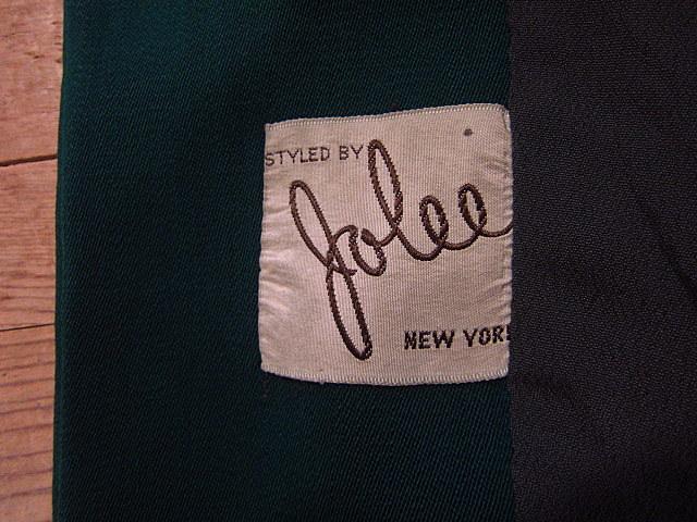 ビンテージ40's★George'sレディースギャバジンジャケット&スカート ツーピース深緑★30's50's古着屋卸フォーマルスーツレトロ_画像4