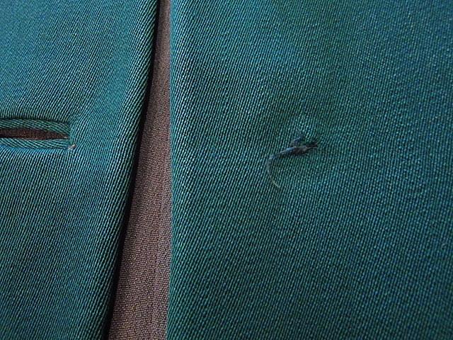 ビンテージ40's★George'sレディースギャバジンジャケット&スカート ツーピース深緑★30's50's古着屋卸フォーマルスーツレトロ_フロント4つ目のボタンが取れています