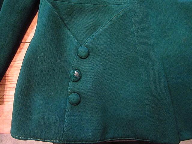 ビンテージ40's★George'sレディースギャバジンジャケット&スカート ツーピース深緑★30's50's古着屋卸フォーマルスーツレトロ_画像7