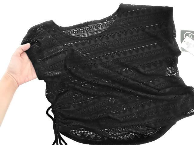 B824■訳あり レディース水着 4点セット 透かしあみTシャツ&タンクトップ&ショーツ&ショートパンツ L ブラック_画像4