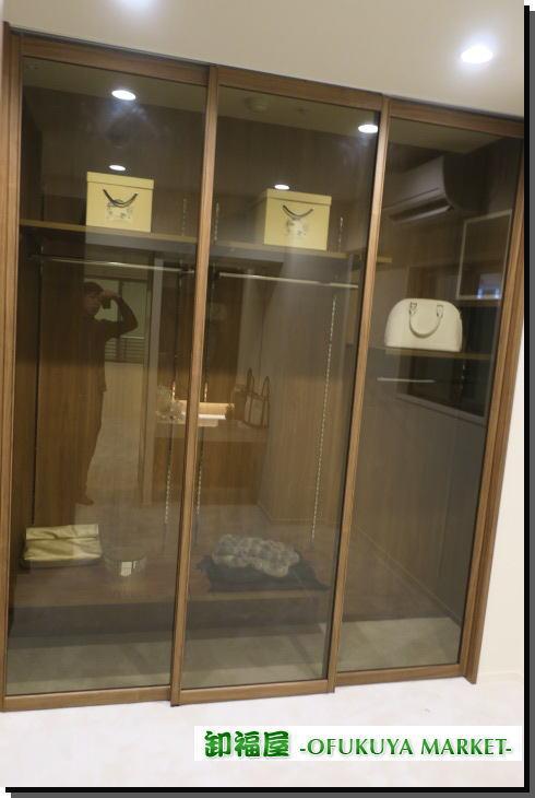 18655■室内用 ガラス スライドドア 3枚組 W695 H2420 上部レール付■展示品 _画像1