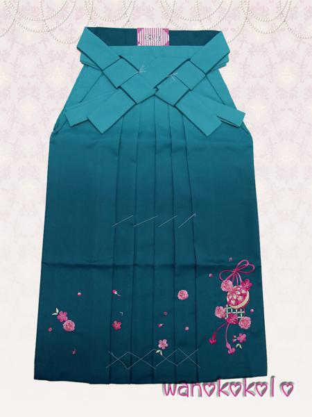 【和のこころキッズ】卒業式に◇ぼかし刺繍袴◇F浅葱系◇80cm_画像1