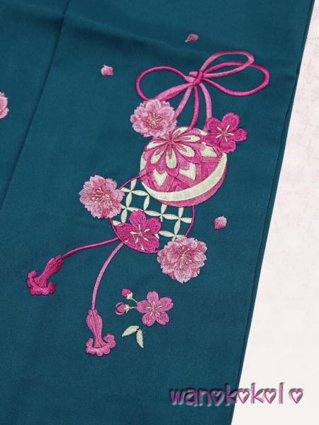 【和のこころキッズ】卒業式に◇ぼかし刺繍袴◇F浅葱系◇80cm_画像2