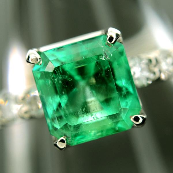 【BSJJ】Pt900 天然エメラルド1.81ct ダイヤモンド0.30ct リング プラチナ 中央宝石研究所 約9号 本物_画像2