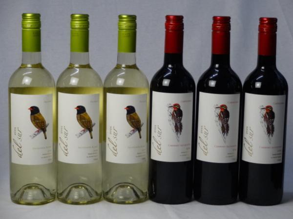 チリ白赤ワイン6本セット デル・スール カベルネ・ソーヴィニ_画像1