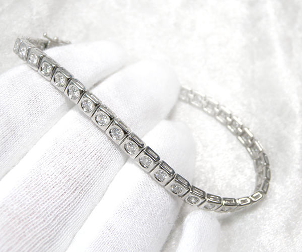 【ME】最落無し★天然ダイヤモンド総計2ctテニスブレス シンプルラインブレス メンズ(S14746)_画像4