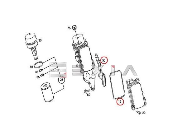ベンツ W207 W211 W212 E350 W221 S350 オイルフィルター クーラー ハウジング ガスケット セット 優良 社外品 新品 2721840280 2721840080_画像2