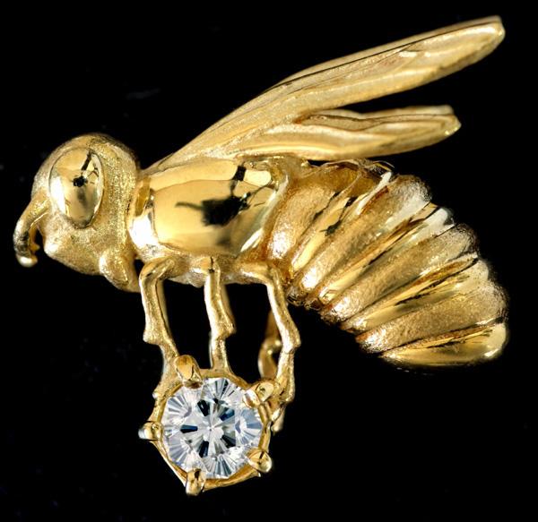 E5170【蜂】稀少さくらカットダイヤモンド0.154ct 最高級18金ピンブローチ・タイタック 重量5.0g(金具除く) 幅17.1×13.0mm