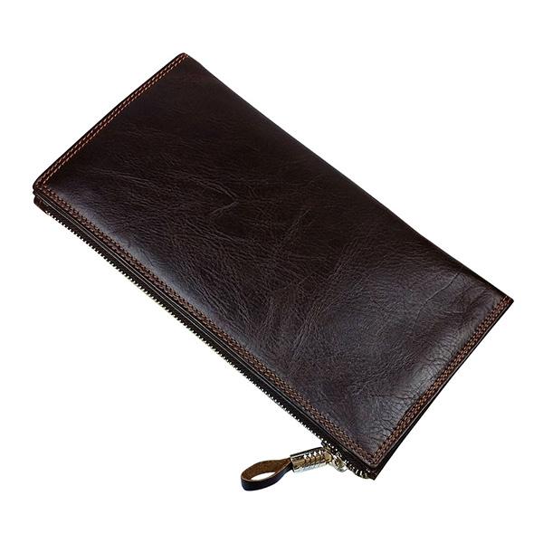 高級感抜群 二つ折り財布 小銭入れあり メンズ ロング ウォレット 牛革 本革レザー オイルレザー カード入れ16所 長財布 セカンドバッグ_画像3