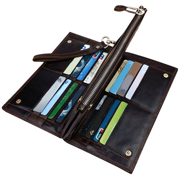 高級感抜群 二つ折り財布 小銭入れあり メンズ ロング ウォレット 牛革 本革レザー オイルレザー カード入れ16所 長財布 セカンドバッグ_画像4