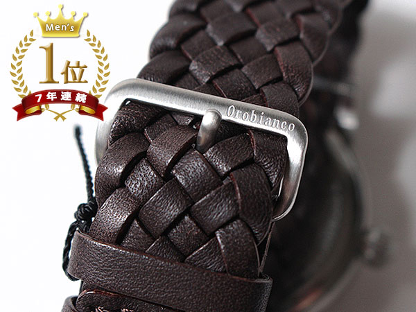 ◆新品未使用品◆Orobianco オロビアンコ 正規品 メンズ 腕時計 3針 日付 /イタリア製ラムレザー革ベルト /濃茶 銀文字盤/CINTURINO F1506_画像7