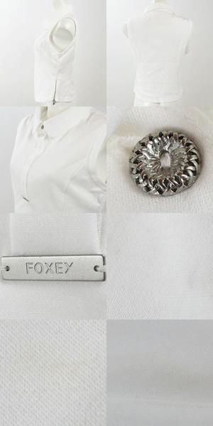 お値下げ フォクシー NY FOXEY NY 白 ノースリ ポロシャツ42_画像2