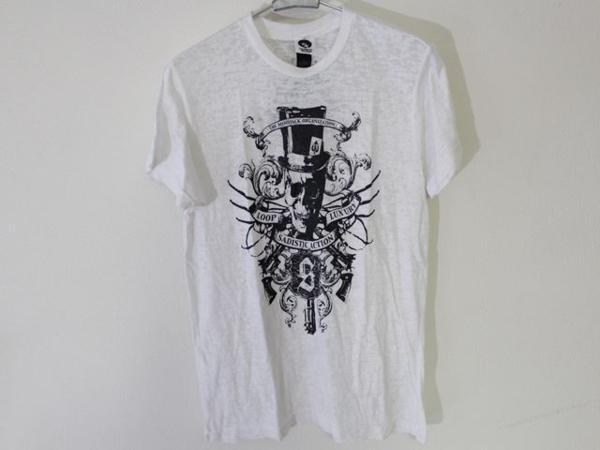 サディスティックアクション SADISTIC ACTION メンズバーンアウト半袖Tシャツ ホワイト Sサイズ 新品_画像1