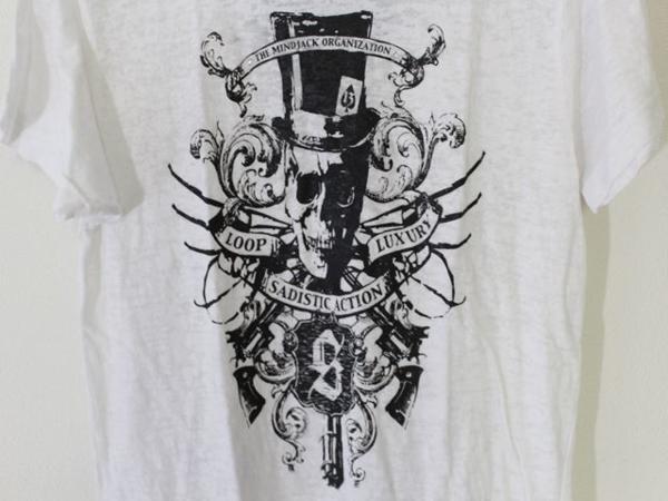 サディスティックアクション SADISTIC ACTION メンズバーンアウト半袖Tシャツ ホワイト Sサイズ 新品_画像3