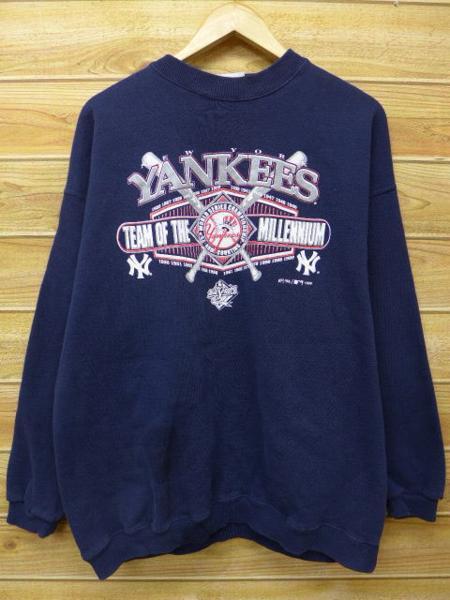 XL★古着 中古 スウェット 90年代 MLB ニューヨークヤンキース 紺 17aug07 グッズの画像