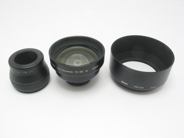 ★ハロ-カメラ★5725 ニコン Nikon テレコンバーター TC-E2 2× + レンズフード HN-23 + UR-E6 付き_画像2
