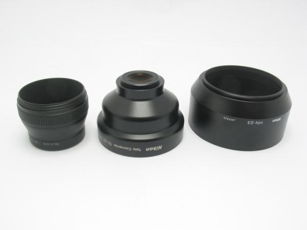 ★ハロ-カメラ★5725 ニコン Nikon テレコンバーター TC-E2 2× + レンズフード HN-23 + UR-E6 付き_画像3