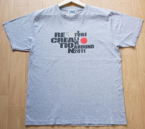 TUBE チューブ LIVE AROUND 2011 RE-CREATION 半袖 Tシャツ コンサート ライブグッズ グレー メンズ
