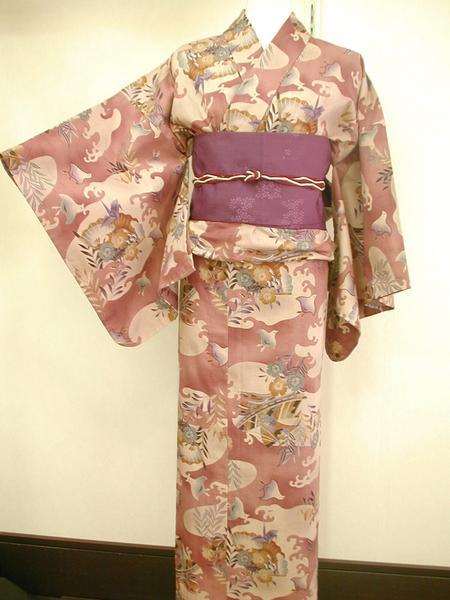 ☆オリジナル製レトロ木綿着物 ちどり紅鳶色 現品限り_帯は参考商品です