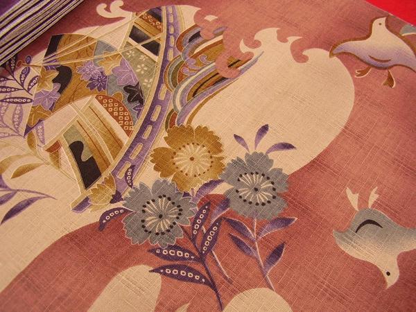☆オリジナル製レトロ木綿着物 ちどり紅鳶色 現品限り_画像3