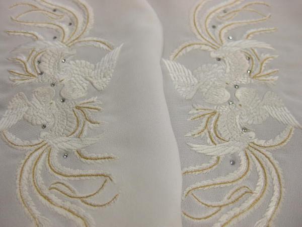 即決 礼装・ラインストーン刺繍半襟・鳳凰金 刺繍半衿_画像1