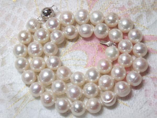 稀少な大粒超高級淡水真珠パールネックレス(8.8-9.7mm)sv16_画像3