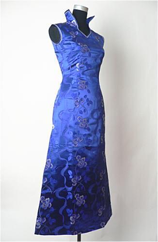 【FLOWER】デザインチャイナドレス◆Aラインドレス・薔薇柄・紺・S(7号)◆送料無料_画像2