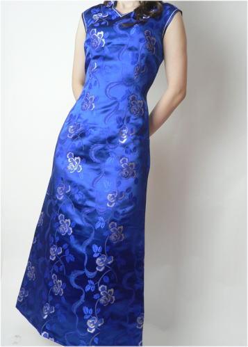 【FLOWER】デザインチャイナドレス◆Aラインドレス・薔薇柄・紺・S(7号)◆送料無料_画像3