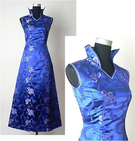 【FLOWER】デザインチャイナドレス◆Aラインドレス・薔薇柄・紺・S(7号)◆送料無料