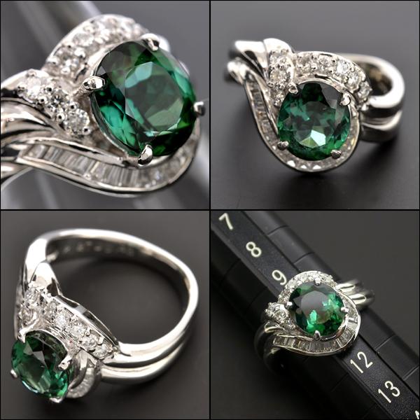 【BSJJ】Pt900 グリーントルマリン2.27ct ダイヤモンド0.43ct リング 約10.5号 中央宝石研究所 プラチナ ブルーイッシュグリーン 本物_画像3