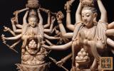 慶應◆大名品! 大明成化款 本象牙彫千手観音菩薩坐像 51cm 3.1kg