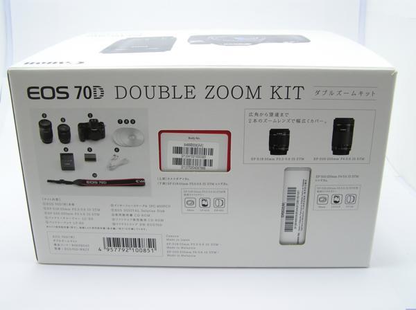★ハロ-カメラ★5078 Canon EOS 70D DOUBLE ZOOM KIT(EF-S 18-55mm/3.5-5.6IS STM・EF-S 55-250mm/4-5.6IS STM)箱説付 極上品