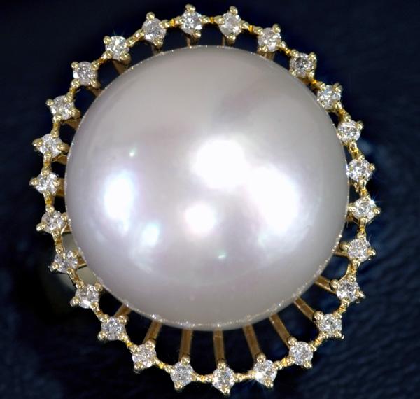 E5223 新品!大粒南洋真珠15.6mm 美しいダイヤ0.26ct 最高級18金リング サイズ12号 重量11.8g 幅22.2mm
