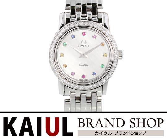 オメガ デビル プレステージ ダイヤベゼル 12Pラインストーン 4575.77 SS ホワイトシェル クオーツ レディース 腕時計 SAランク